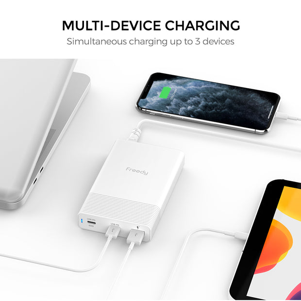 Freedy 65W USB-C Travel Charger Power Station Fast Charging Adapter [2 USB-C PD: 60W+18W & 1 QC 3.0] [USB-IF Certified] - White