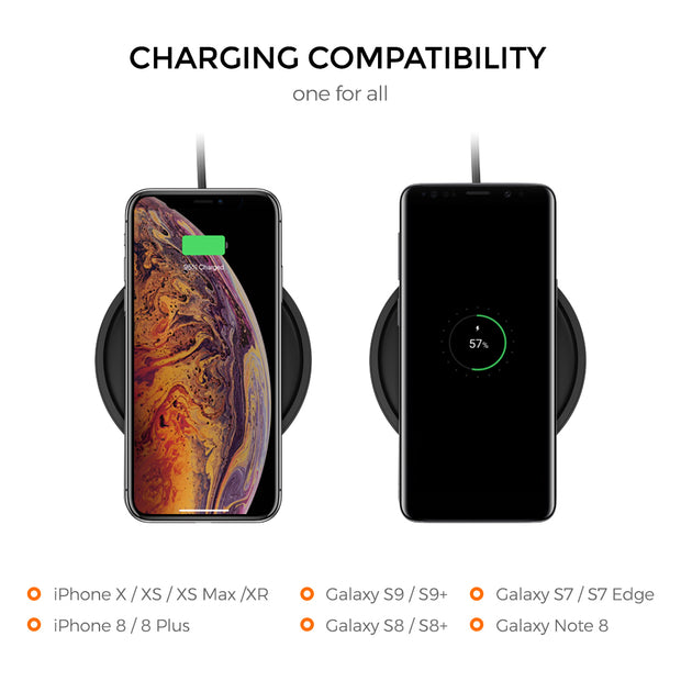 Freedy 15W Qi Certified Wireless Charger Stand Designed for Qi-Enabled Phones - [Qi-Certified & Fast] - Black