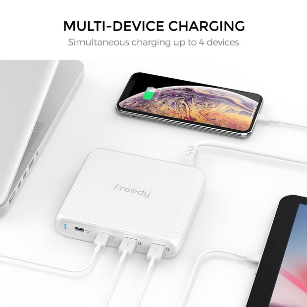 Freedy 90W USB-C Travel Wall Charger - Fast Charging - [2 USB-C PD & 2 QC 3.0] - [USB-IF Certified] - Black
