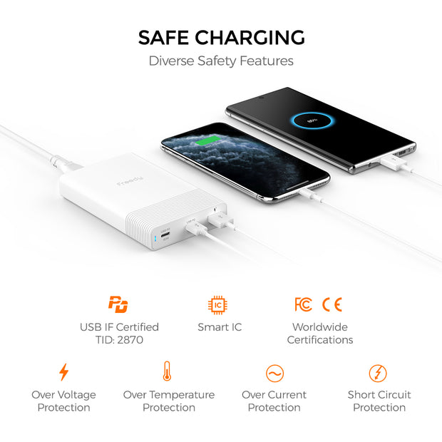 Freedy 65W USB-C Travel Charger Power Station Fast Charging Adapter [2 USB-C PD: 60W+18W & 1 QC 3.0] [USB-IF Certified] - Black