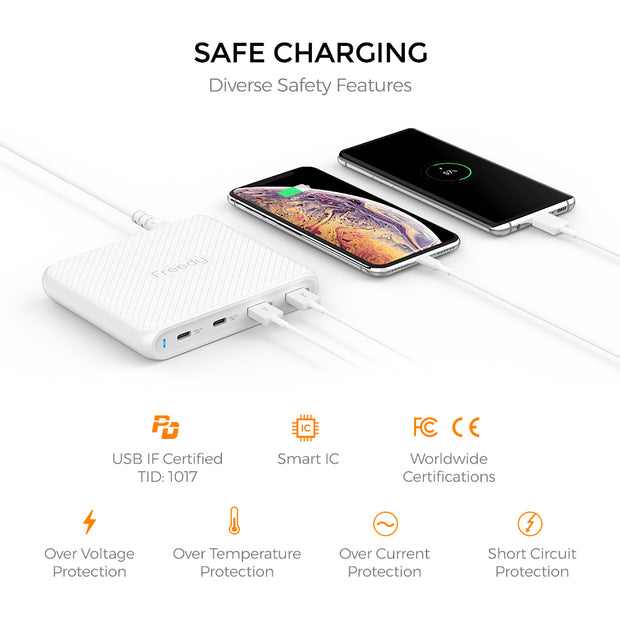 Freedy 90W USB-C Travel Wall Charger - Fast Charging - [2 USB-C PD & 2 QC 3.0] - [USB-IF Certified] - White