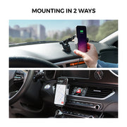 Freedy Automatic Smartphone Mount Holder Wireless Charger for Car Dashboard Air Vent Windshield [15W Qi Wireless Charging Certified] - Black