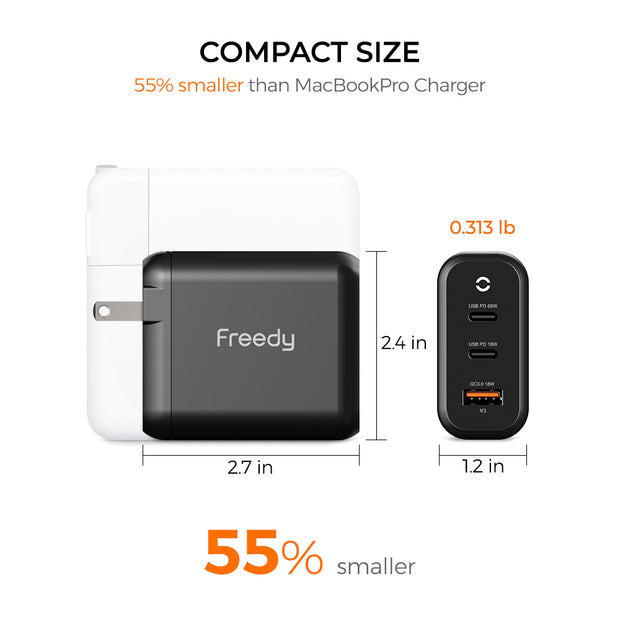 Freedy 65W GaN USB-C Wall Charger Power Station Fast Charging Adapter [2 USB-C PD: 65W+18W & 1 QC 3.0] Compatible w MacBook, iPad Pro, iPhone, Microsoft Surface and More (Black)