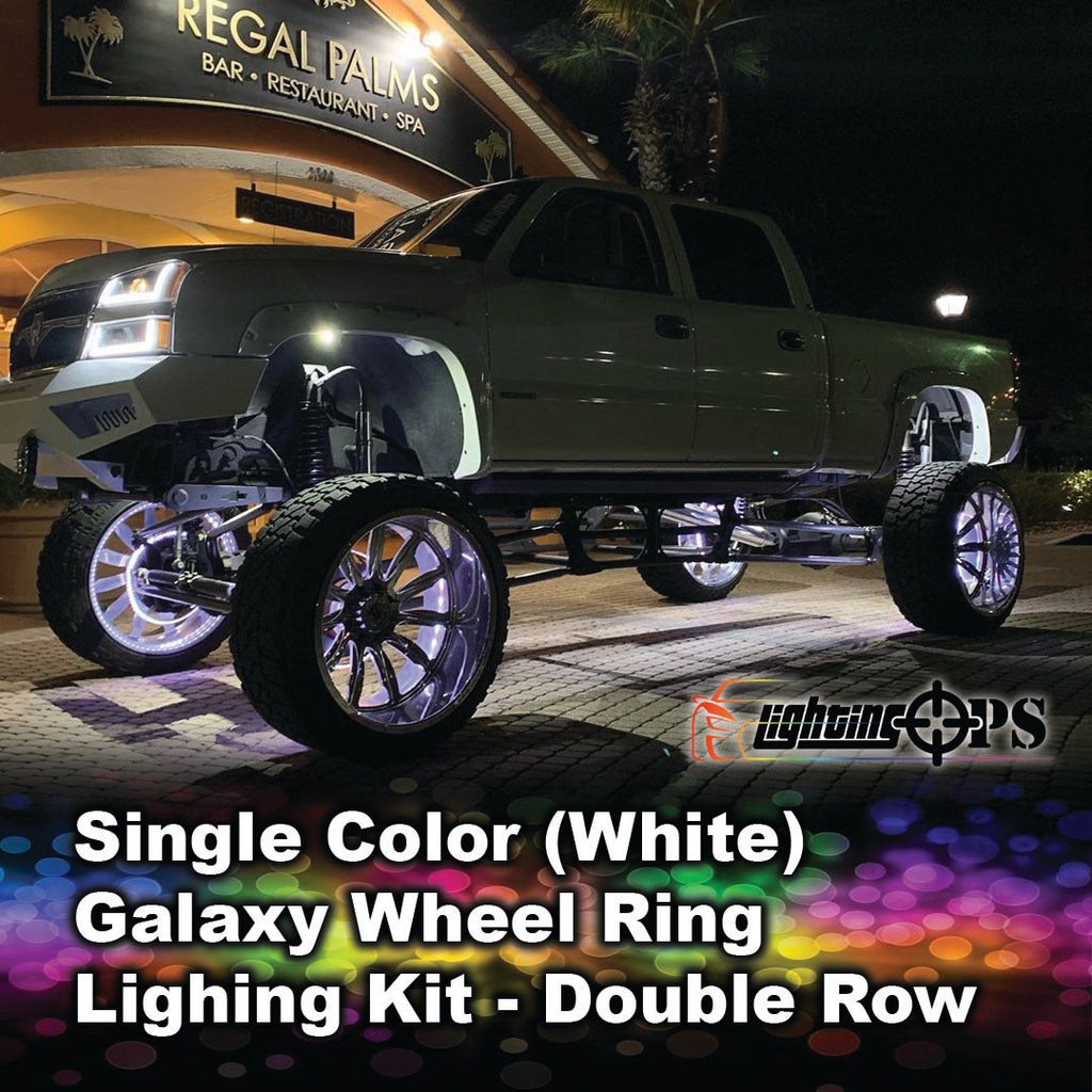 Double-Row Single Color (White) Galaxy Wheel Rings
