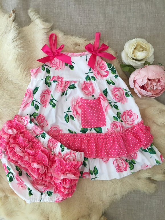 Two piece flower dress with bummies