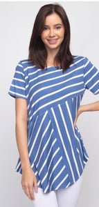 Denim and white striped women's shirt