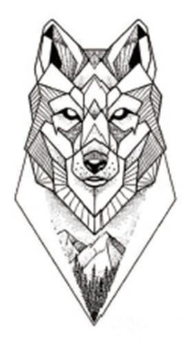 Geometric Wolf Temporary Tattoo