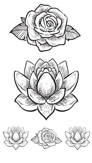Flower Sketch Temporary Tattoo Le Youth