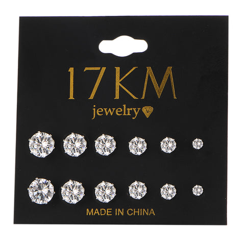 17KM Fashion 6 Pair/set Punk Accessories Crystal Stud Earrings Set For Women Round Flower Fashion Design Brincos Jewelry Bijoux