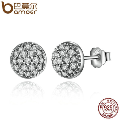 BAMOER Delicate 100% 925 Sterling Silver Dazzling Droplets, Clear CZ Small Stud Earrings Women Wedding Jewelry Brincos PAS488