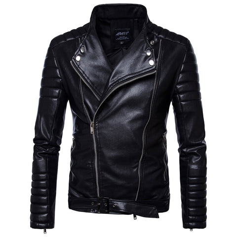 2018 Brand Man Zipper Leather Jackets Pu Leather Motorcycle Leather Motorcycle Leather Jacket Men Black 5XL
