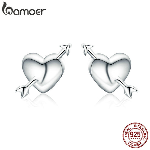 BAMOER 100% Authentic 925 Sterling Silver Fall in Love Heart Small Stud Earrings for Women Valentine Day Jewelry Brincos SCE282