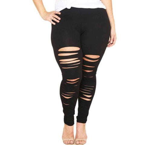Women Plus Size Elastic Leggings Block Sexy Sport Pants Sport Pants