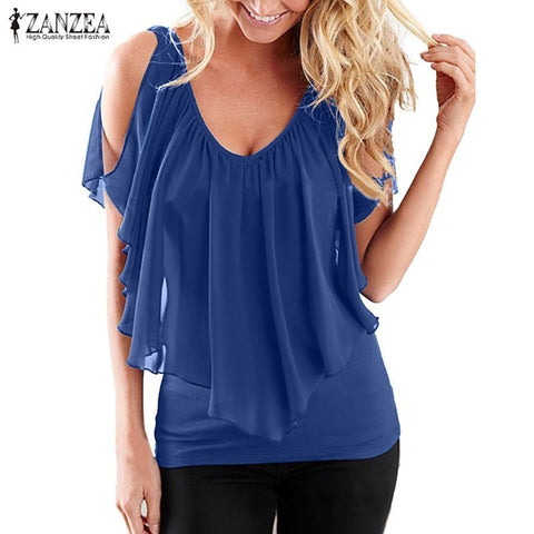 2018 Summer ZANZEA Women Blouses Sexy Off Shoulder V Neck Splicing Solid Chiffon Shirts Fashion Plus Size Tees Tops Blusas