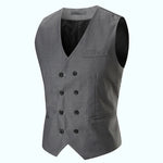 2018 New Europe Design Men Blazer Vest Slim Fit Suits V-Neck Double-Breasted Waistcoat Vests Fashion Solid Color Colete