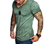 2018 Summer Gradient Color Casual Tshirts Men Crew Neck Short Sleeve Loose Fitness Joggers Muscle Tee Bodybuilding T-Shirts
