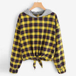 Women  Long Sleeve Plaid Casual Hooded Sweatshirt Pullover Top Blouse