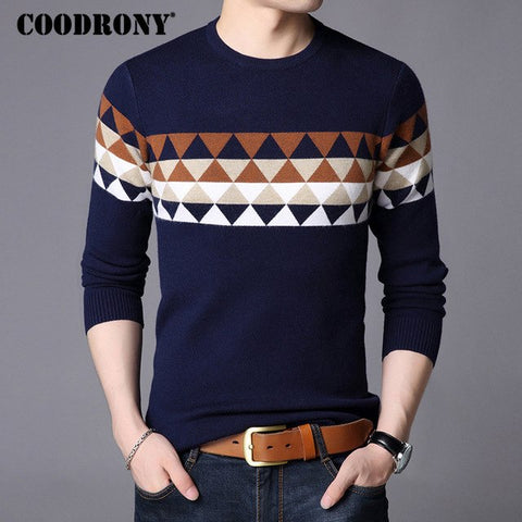 COODRONY Christmas Sweater Men Clothes 2018 Autumn Winter Thick Warm Mens Sweaters Casual O-Neck Cashmere Wool Pullover Men 8254