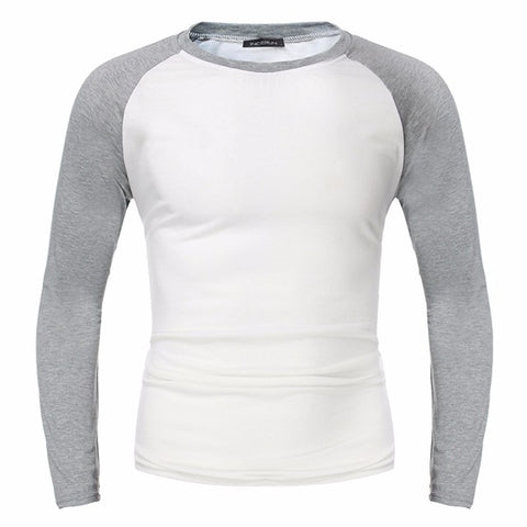 Muscle Tee Fashion Mens Tshirts Long Sleeve Casual Tee Pullover Slim Fit Shirt O-neck Top Patchwork T-shirt Men Clothing Big 4XL