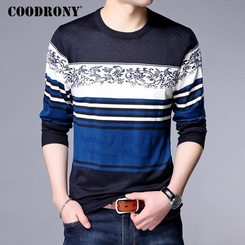 COODRONY Sweater Men Striped Print Casual O-Neck Pullover Men Clothes 2018 Autumn Winter Thin Sweaters Plus Size Pull Homme 8175
