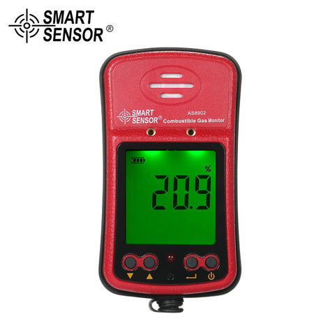 SMART SENSOR Professional Combustible Gas Detector Industrial Digital Handheld Portable Automotive Gas Leak Tester Gas Sniffer with LCD Display Sound and Light Vibration Alarm 100-240V