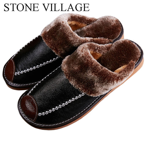 2018 warm genuine leather slippers winter lovers men and women slippers floor non-slip home slippers indoor shoes