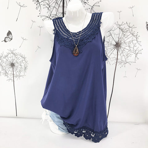 Boho Women Plus Size Tank Top Solid Floral Crochet Lace Round Neck Sleeveless Long Casual Blouse