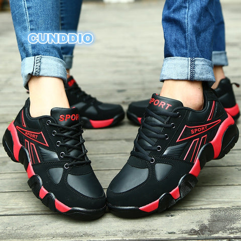 2018 new Casual Shoes Women leather Brand sneakers women Vulcanized Shoes woman wedges Thick Non-slip chaussure femme size 36-45