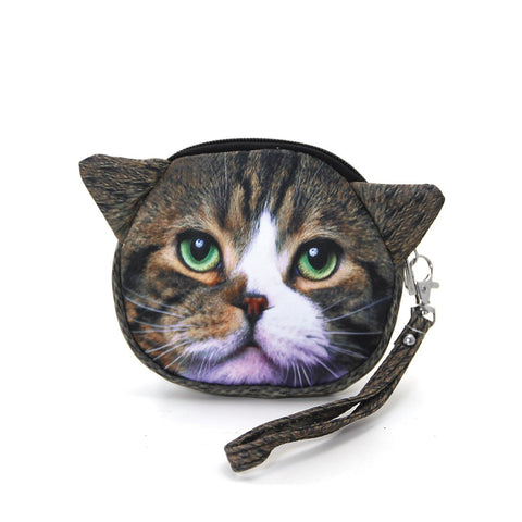 Cat Face Satin Coin Purse