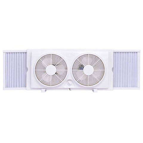 Costway 7'' Dual Blade Twin Window Fan 2-Speed Setting Reversible AirFlow Manual Control