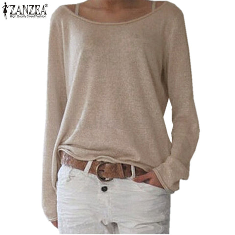 Zanzea T Shirt Women 2019 Spring Top Female O Neck Long Sleeve Shirt Casual T-Shirts Tops Solid Knitted Blusas Plus Size S-2XL