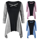Fashion Women Plus Size Cross O-Neck Color Block Patchwork Irregular Top Blouse
