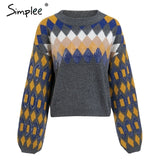 Simplee Sequined knitted sweater women Winter 2018 plus size long sleeve pullovers o neck Korean female pull jumper streetwear