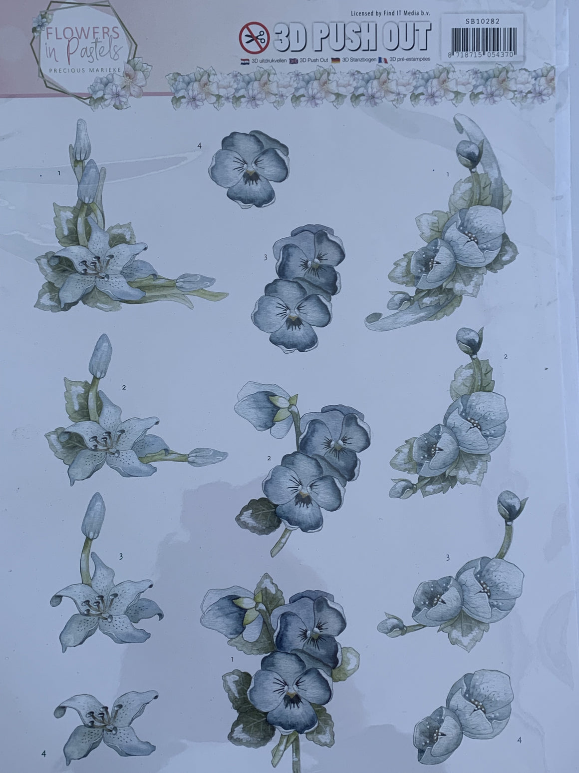 Pastels in Flowers 3D Push Outs by Precious Marieke - NZ Gift Hutt