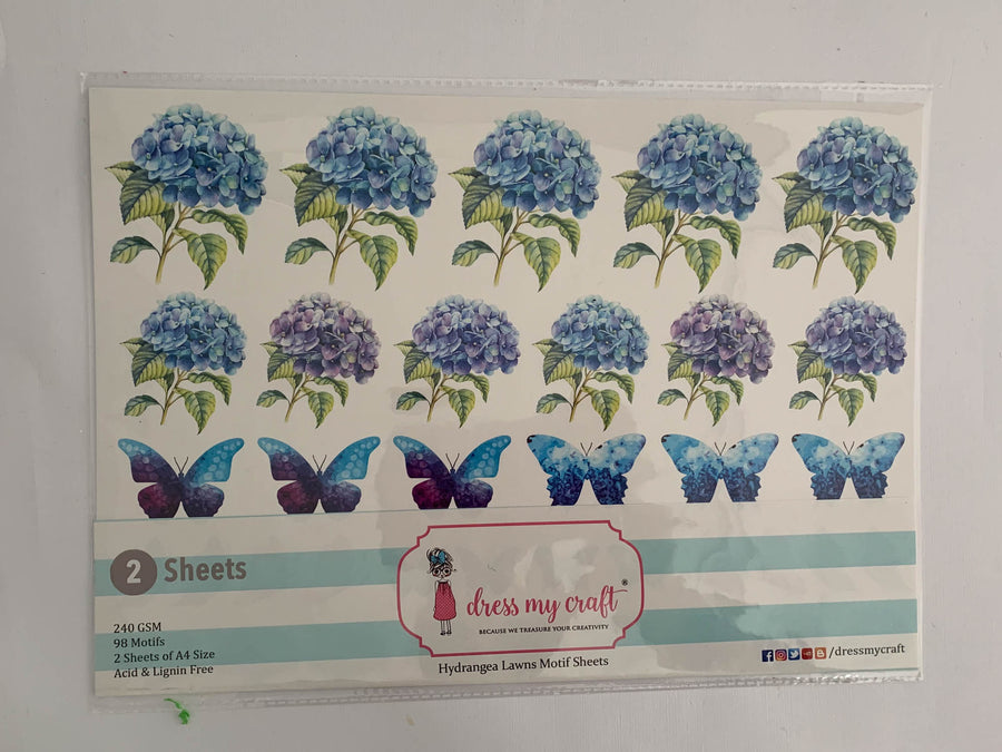 Hydrangea Lawns Motif Sheet - NZ Gift Hutt