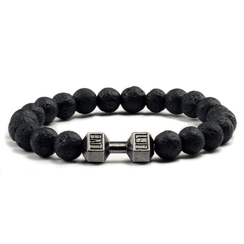 Dumbbell Charm Lava Stone Healing Bracelet - Offer