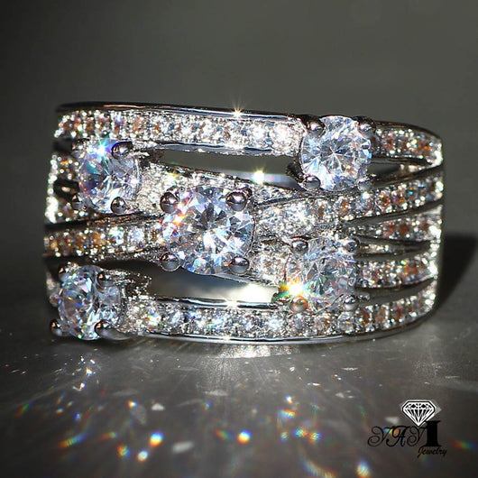 White Zircon Silver wedding Ring