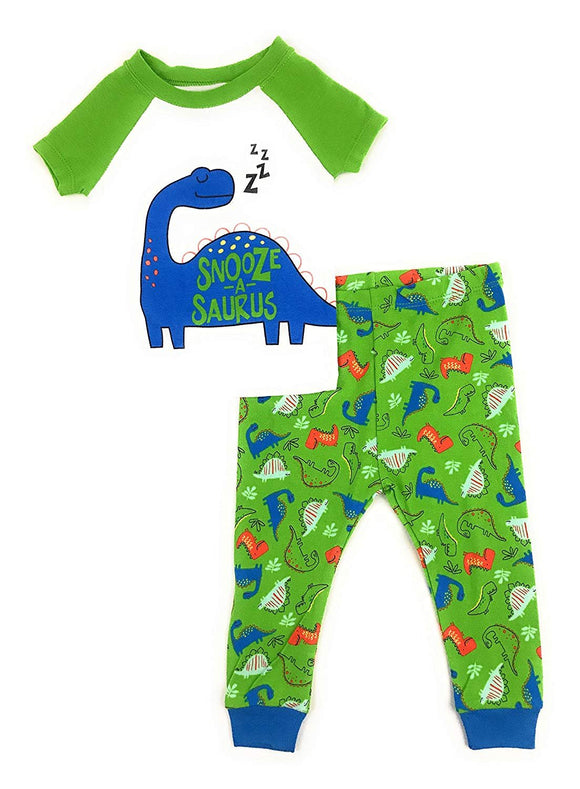 Baby and Toddler Boys Snug Fit Graphic Pajama Shirt and Pants Two-Piece Set (24 Months, Snooze-A-Saurus)