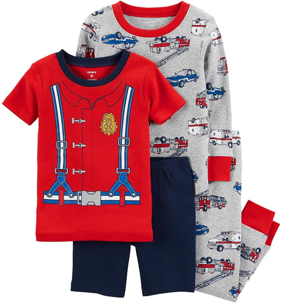 Carter's Boy's 4-Piece Snug Fit Cotton PJ Set, Firefighter, 2T