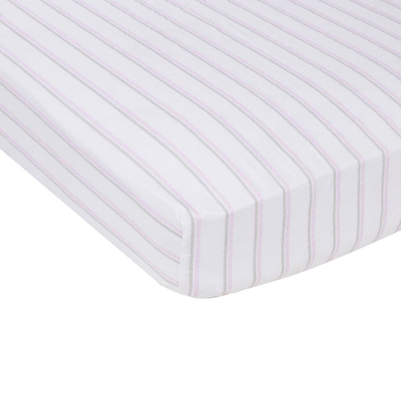 MiracleWare Blanket Muslin Crib Sheet, Pink & Gray Stripes