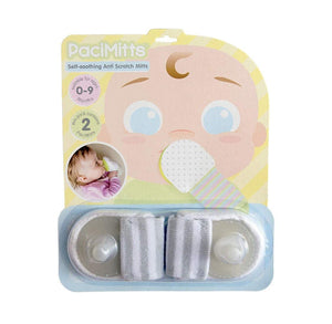 Woombie PaciMitts with Attached Pacifier Helps Soothe Baby and Relieve Sore Gums While Anti Scratch Mittens Protect from Scratching (Pack of 2)