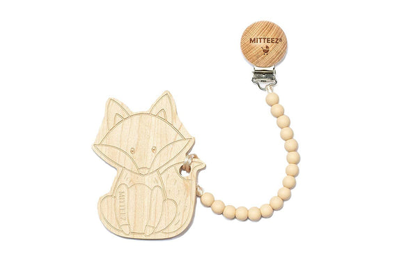 MITTEEZ Teething Buddies Wood Teether Toy and miniStrands Chewbeads and Pacifier Clip (Finley The Fox)