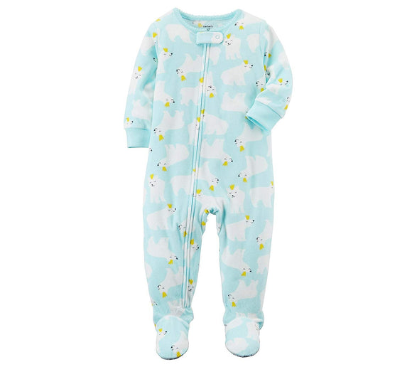 Carter's Baby Girls' 12M-4T One Piece Fleece Polar Bear Pajamas