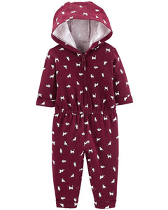 Carter's Baby Girls' One Piece Fleece Jumpsuit Cats,3 Months