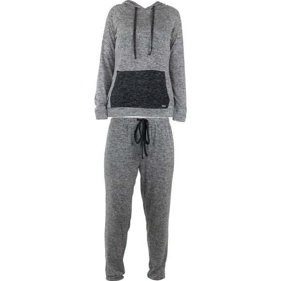 Hello Mello Carefree Threads, Hoodied Top and Jogger Pant Set with Drawstring Bag, Melange
