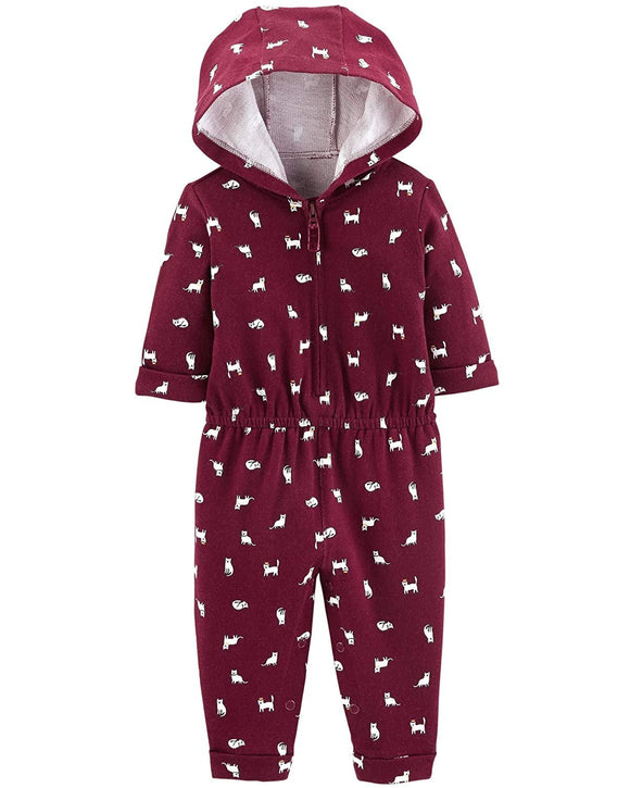 Carter's Baby Girls' One Piece Fleece Jumpsuit Cats, 24 Months