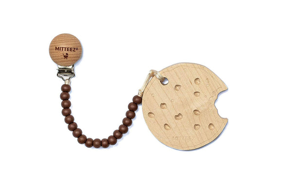 Mitteez Teething Buddies Wood Teether Toy with miniStrands Chewbeads and Pacifier Clip for Baby (Lacey the Cookie)