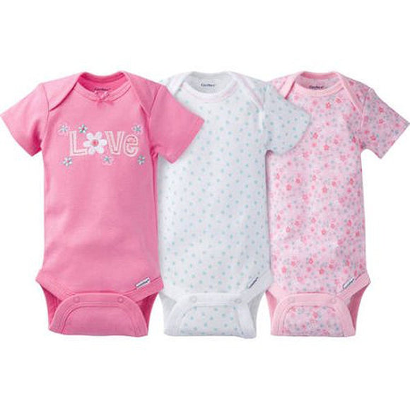 Gerber Baby Girl's Bodysuits 3 Pack (0-3 Months, Love)