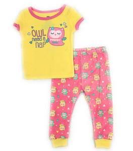 Baby and Toddler Girls Snug Fit Graphic Pajama Shirt and Pants Two-Piece Set (12 Months, Owl Need a Nap)