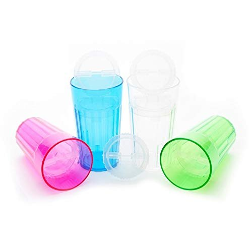 Reflo Smart Cup with Open Rim Flow Control, Training Cup for Kids 6 Month and up - 4 Pack (Green, Blue, Clear, Red-Violet)